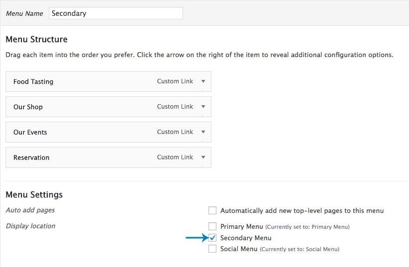 how to create header secondary menu