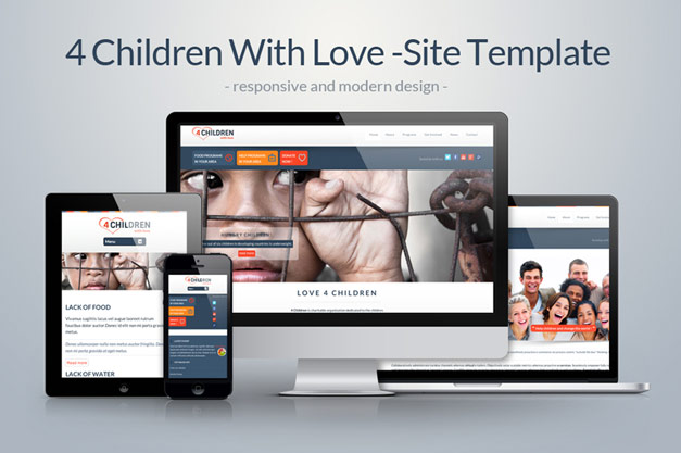 "Dive into our new premium website template ""4 Children With Love"""