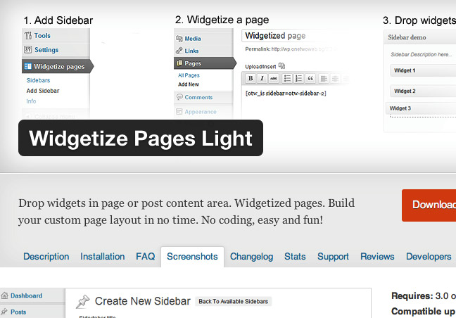 Widgetize Page Light
