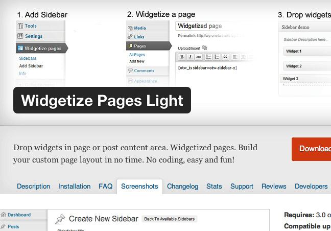 Widgetize Page Light