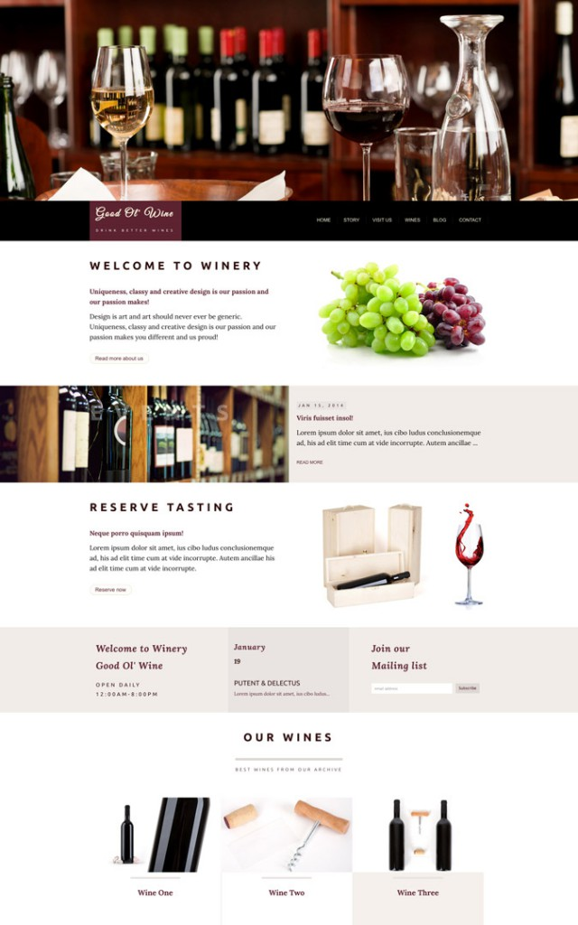 Wine and Winery HTML templates