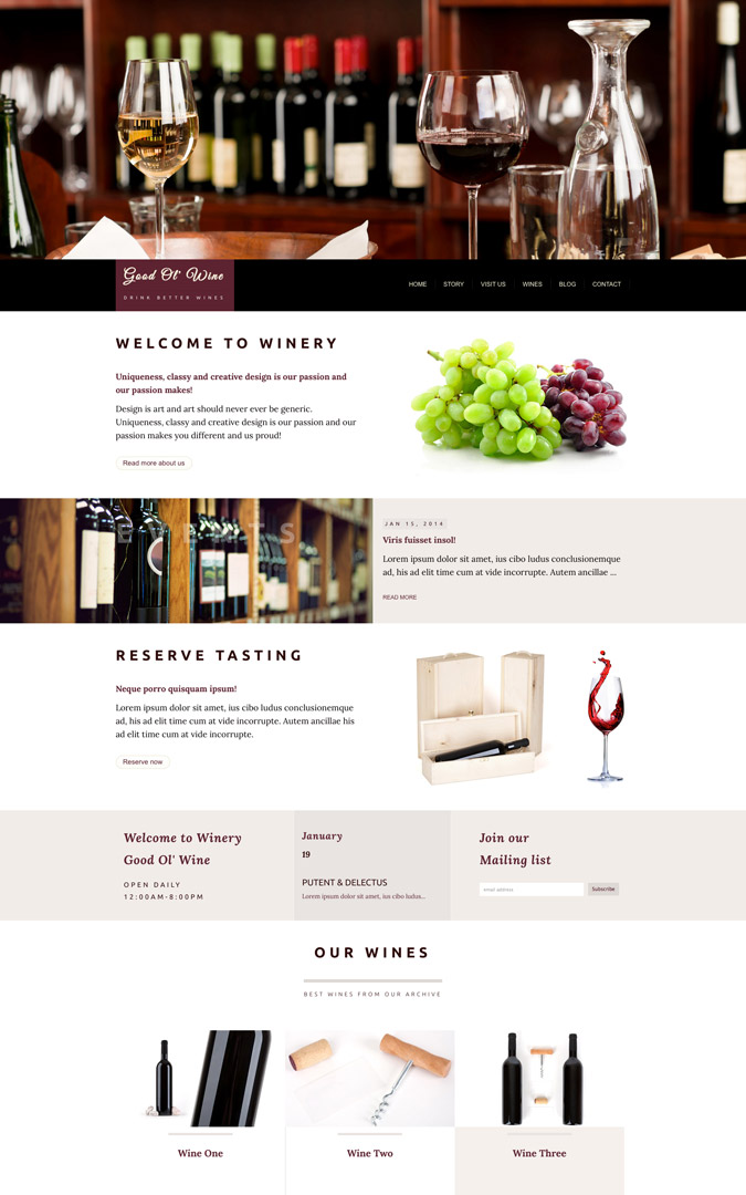 taste the exquisite uniqueness of good ol wine html template