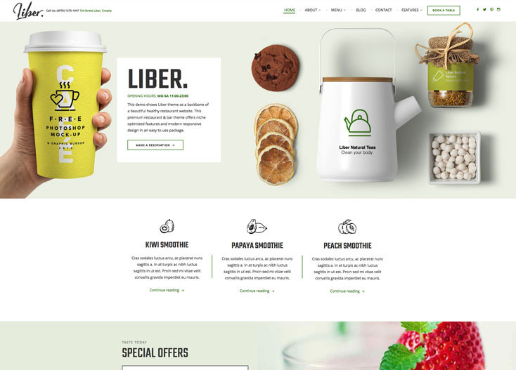 Restaurant and Bar WordPress Theme