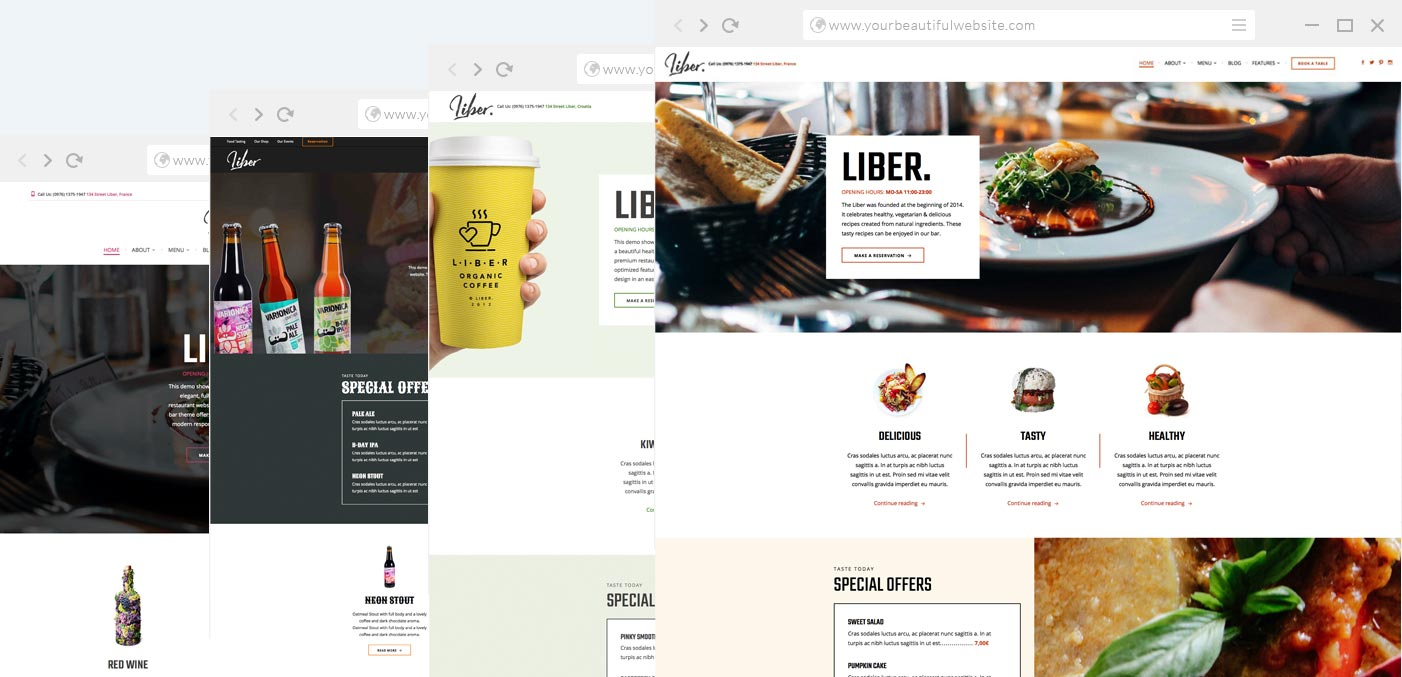 restaurant wordpress theme liber anariel design