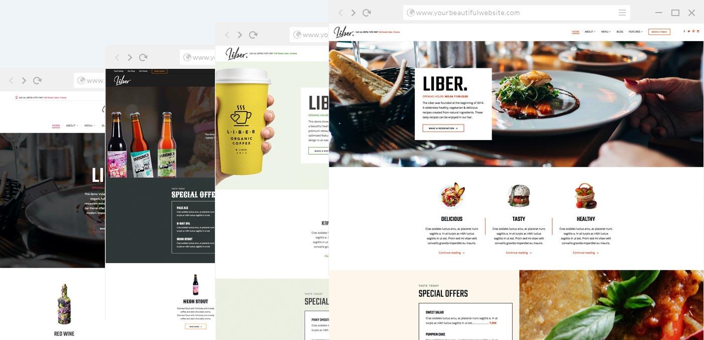Restaurant wordpress theme liber anariel design