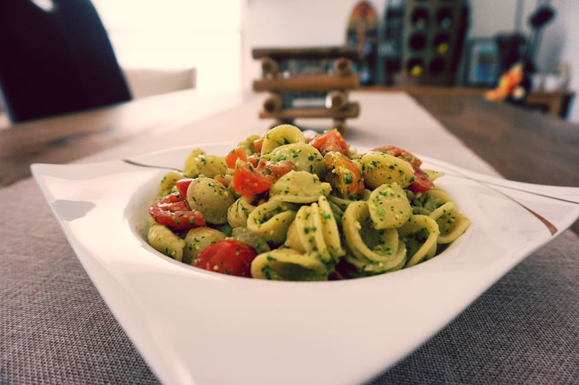orrechiete with pesto